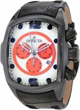 New Mens Invicta 10288 Lupah Revolution Chronograph Orange Black Leather watch