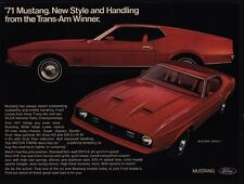 1971 FORD MUSTANG MACH 1 351 Boss HO V8 Red Sports Car VINTAGE AD
