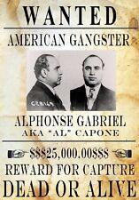 "TARGA VINTAGE ""1899-1947 Alphonse Gabriel Capone detto ""AL"" WANTED,POSTER, PLATE"