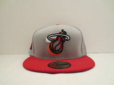 NEW ERA NBA MIAMI HEAT NEON LOGO POP FITTED CAP HAT SIZE 7 1/8 NWT GREY RED NWT
