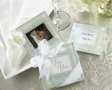 24 Good Wishes Pearlized Glass Photo Coasters Gift Set Wedding Favors 2-pk