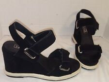 NEW ANTHROPOLOGIE SOL SANA BLACK SUEDE COHEN WEDGES WOMEN'S SIZE US 10 EUR 40