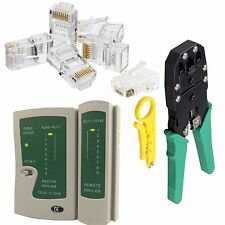 Rj45 Cat5e Cable Tester Crimping Crimper Stripper Network Kit + 100x Connectors