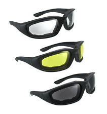 3 Pairs Motorcycle Wind Resistant Padded Foam Riding Glasses Yellow Clear Smoke