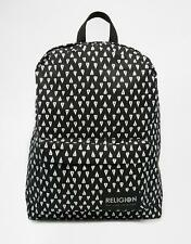 RELIGION BLACK BACKPACK WITH TOOTH PRINT LOGO ZIP UP BACKPACK RUCKSACK BAG NEW
