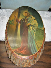 Vintage Religious JESUS CHRIST Knock Door Wood Log Slab Plaque Great Adventure