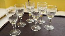 SIX SHAPED SHERRY / PORT GLASSES WITH A FERN LEAF PATTERN TO BOWL