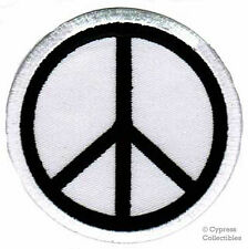 PEACE SIGN iron-on embroidered PATCH new HIPPIE white APPLIQUE anti-war emblem