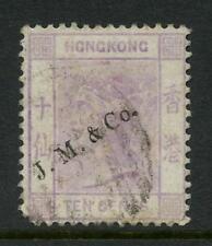 HONG KONG QV 1880 10c CROWN CC...AGENT OVERPRINT JM + CO JARDINE MATHIESON