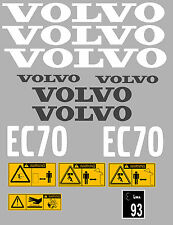 VOLVO EC70 DIGGER COMPLETE DECAL STICKER SET WITH SAFETY WARNING DECALS