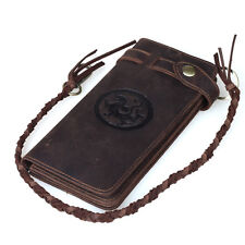 Vintage Brown Thick Leather Men's Bifold Wallet with Chain Credit Card Holder