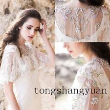 Luxury Shiny Beads Crystal Lace Bolero Cape Jacket Bridal Wedding Shawl Handmade