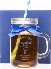(GD) Personalised JAGERMEISTER Mason Glass Jar Gift + RIBBON For 21st Birthday