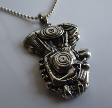 American Motor V Twin Engine Chain Necklace Motorcycle Biker