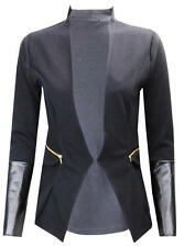 Q32 NEW WOMEN LADIES TAILORED P.V.C LONG SLEEVE BLAZER JACKET COAT IN PLUS 08-24