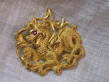 Vintage Golden Dragon Pendant Dated 1980 CCS ruby red eye