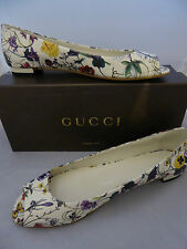 Gucci Floral Leather Peep Toe Flat Size EU 41 UK8  Shoes open toe Flat New n Box