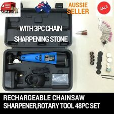 RECHARGEABLE CORDLESS CHAINSAW CHAIN GRINDER SHARPENER ROTARY TOOL 48PC DREMEL