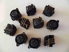 10 x xlr neutrik panel socket (femelle) NC 3 fahr 1-0 pcb gold 10pcs neuf