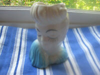 Glamour Girl Head Vase Pottery Planter Vintage Lady Headvase Blue Vintage