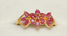 14k Solid Yellow Gold Cute Flower Ring with Natural Ruby 1.25 TCW. size 8.25