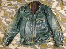 WW2 40's VINTAGE GERMAN MOTORCYCLE LEATHER JACKET LUFTWAFFE FLIGHT JACKET - ZIPP
