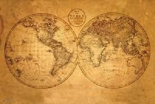 OLD WORLD MAP (LAMINATED) POSTER Antique Style Wall Chart Art Print NEW Licensed