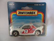MATCHBOX MB34 FORD RS200 RALLY CAR. MIB/BOXED/BLISTER/CARDED 34 SUPERFAST