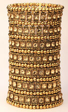 Stretch cuff bracelet bridal wedding party bling jewelry gift A1 7 row gold