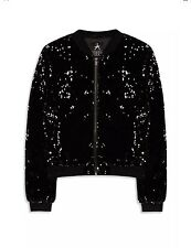 Primark Womens Velvet Black Silver Sequin Bomber Jacket BNWT! UK10 EUR 38