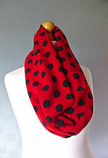 Red and black polka dot snood, spotted loop scarf, red and black spotted cowl