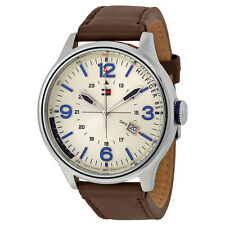 Tommy Hilfiger Beige Dial Brown Leather Mens Watch 1791102