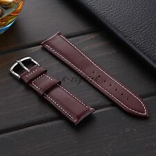 For Fossil Q Founder 22mm Brown White Stitching Genuine Leather Watch Strap Band