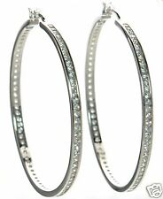 Solid 925 Sterling Silver Clear CZ LARGE Hoop Earrings '
