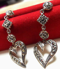 Suspicion Sterling Silver Marcasite Long Dangle Heart Pierced Earrings NIB QVC