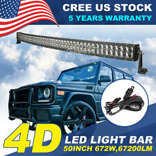 4D+ 50INCH 672W CREE CURVED LED LIGHT BAR SPOT FLOOD OFFROAD 4WD TRUCK ATV 52""