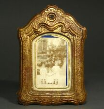 Antique French Photo Frame Gilded Papier Mâché, Sepia Photo with Children, Poem
