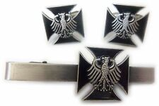 Germany German IRON CROSS WW2 Eagle Military Army TIE BAR CLIP CUFFLINKS SET