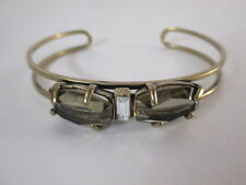 Gerard Yosca Antique brass Bronze Stone Crystal Double Cuff Bracelet NWOT $150