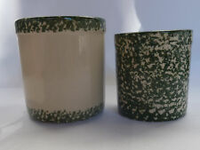 Set 2 Gerald Henn Workshops Green w/Trim Crock Canisters Roseville Sponge Ware
