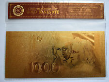 GERMANY / Deutschland: 1000 Marks Banknote. Pure 24k Gold Plated. COA.