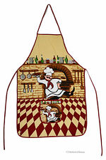 Cotton Kitchen Apron Pizzeria Fat French Chef Checkered Bistro Decor w Pocket