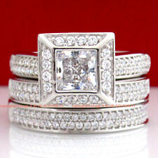 Real Genuine Solid 9K White Gold Engagement Wedding Rings Set Simulated Diamonds