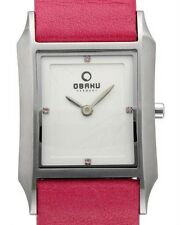OBAKU HARMONY LADIES STAINLESS STEEL PINK LEATHER CRYSTAL QUARTZ WATCH v107lcirp
