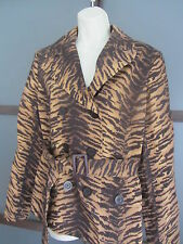 Half Trench Jacket Large Belted Lined Animal Print Jones New York Signature