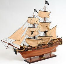 "Caribbean Pirate Tall Ship 37"" Built Wooden Model Boat Assembled"