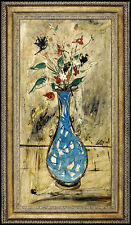 Charles Levier Original Oil Painting on Board Signed Artwork Still Life Flowers