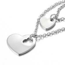 "Two Tier 316 Stainless Steel cross Chains Necklace Heart pendants 16"" s185"