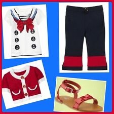 NWT 4 Baby Gap Kids CANNES 3pc Set NAVY BLUE RED top Capris Sweater NAUTICAL