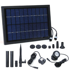 Solar Panel Water Pump W/ 6LED Light For Outdoor Fountain Submersible Pond Pool